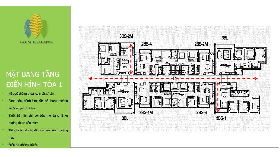 Mặt bằng điển hình tầng 1 dự án Palm Heights